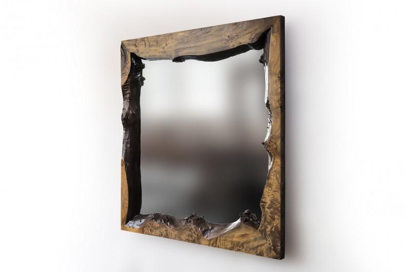 Mirror from Birdseye Poplar Burl Wood Mirror №1