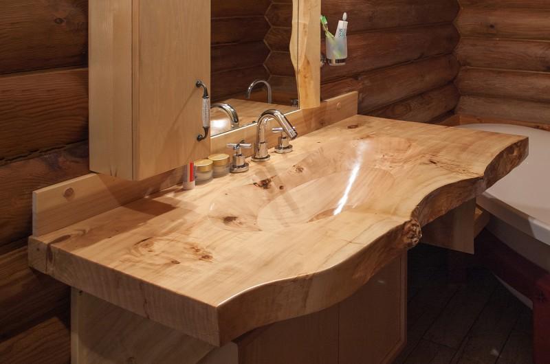 Дървена мивка - масивна топола №5