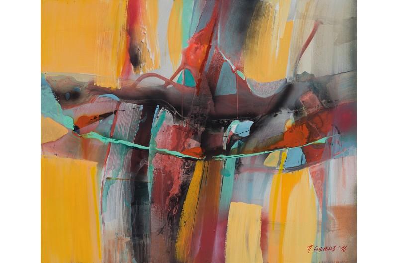 Импресия I - Абстрактна картина от Петър Бажлеков