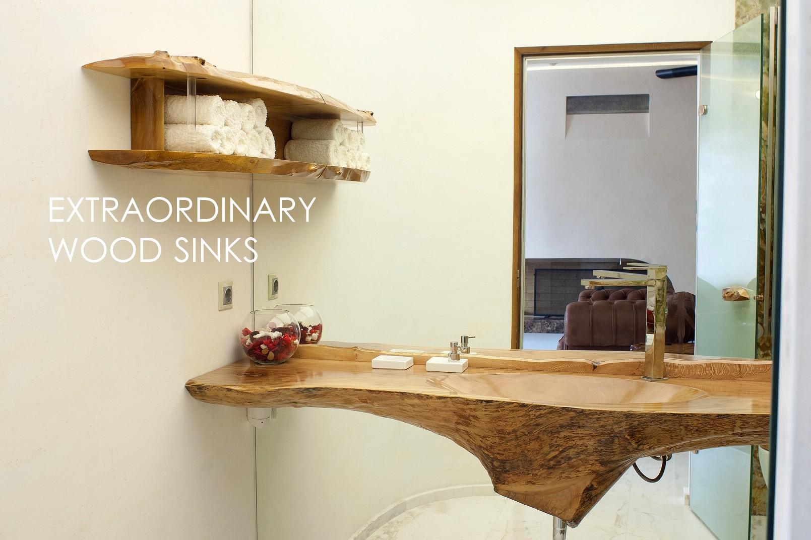 Wood sinks for extraordinary interior design